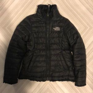 North Face Girls Black Fur Lined Puffer Jacket
